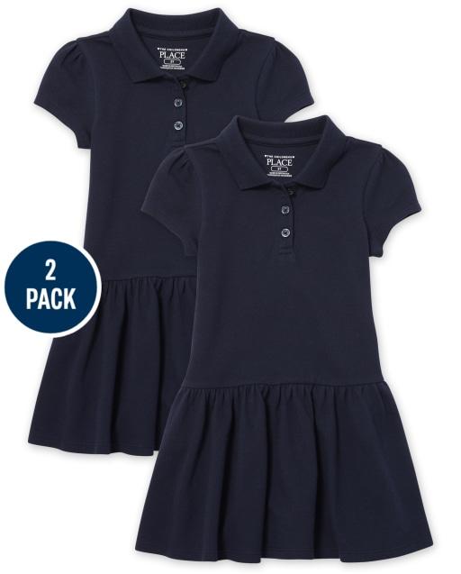 Toddler Girls Uniform Short Sleeve Ruffle Pique Polo Dress 2-Pack