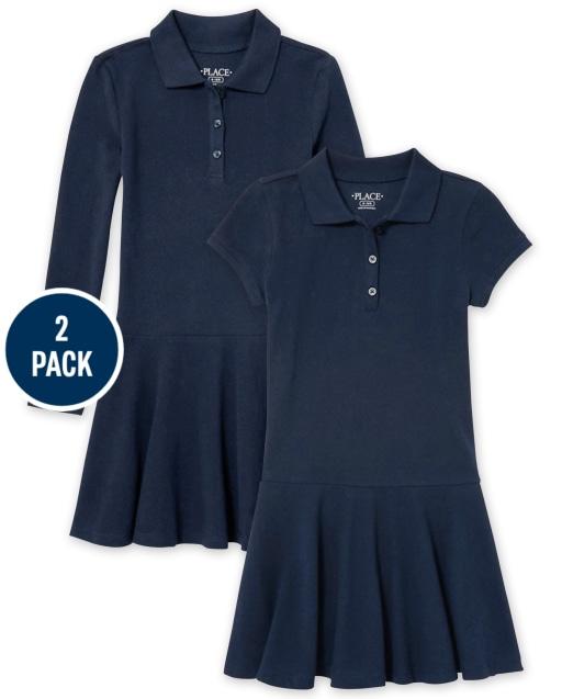 Girls Uniform Short And Long Sleeve Pique Polo Dress 2-Pack