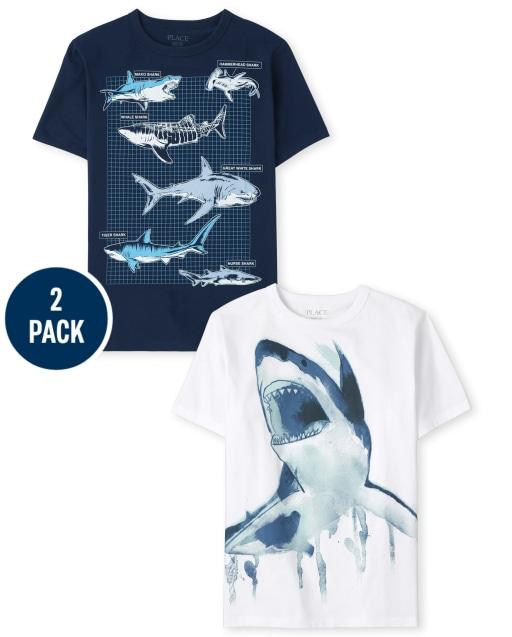 Pack de 2 camisetas de manga corta con estampado de tiburón para niños