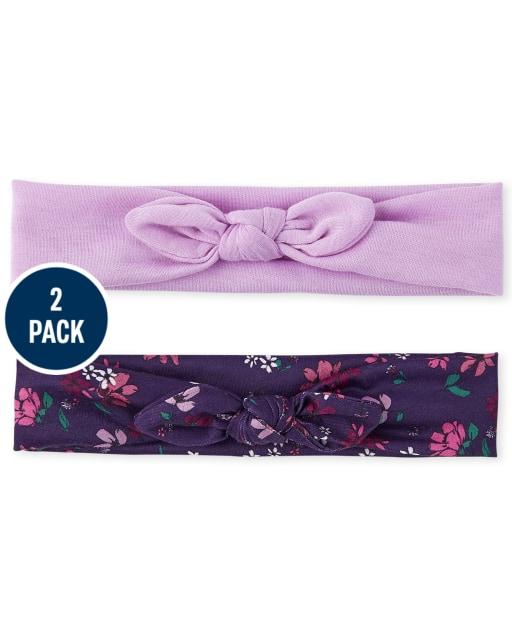 Paquete de 2 diademas con lazo para niñas pequeñas