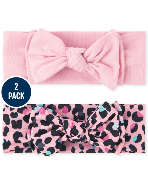 Baby Girls Leopard Bow Headwrap 2-Pack