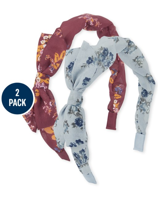 Girls Floral Print Bow Headband 2-Pack