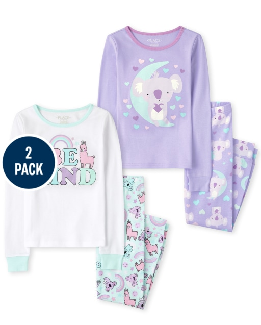 Girls Long Sleeve Koala Snug Fit Cotton Pajamas 2-Pack