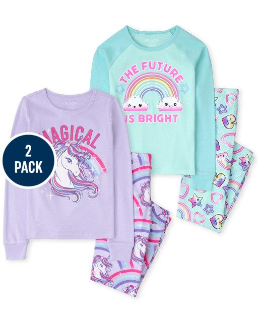 Girls Long Sleeve Unicorn And Rainbow Snug Fit Cotton Pajamas 2-Pack