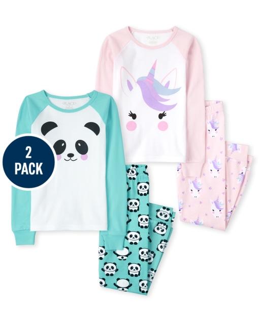 Girls Long Sleeve Unicorn And Panda Snug Fit Cotton Pajamas 2-Pack