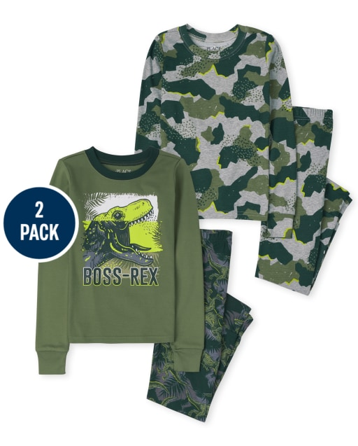 Boys Long Sleeve Dino Camo Snug Fit Cotton Pajamas 2-Pack