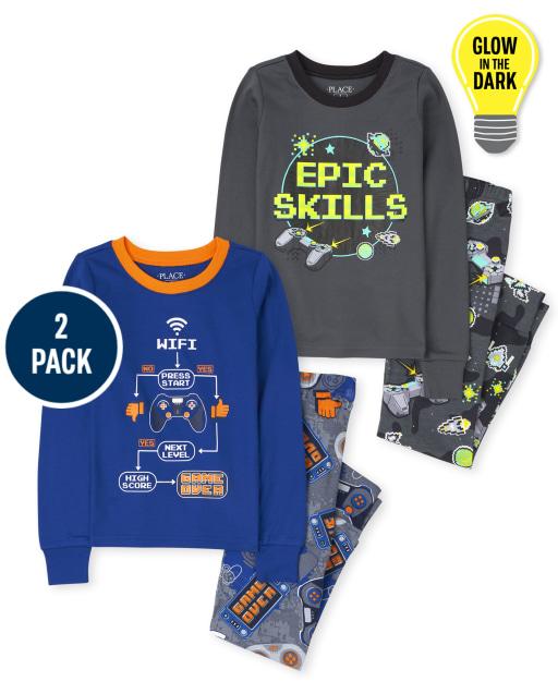 Boys Long Sleeve Video Game Snug Fit Cotton Pajamas 2-Pack