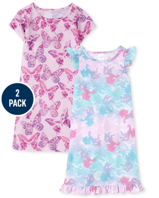 Girls Short Sleeve Butterfly Unicorn Nightgown 2-Pack