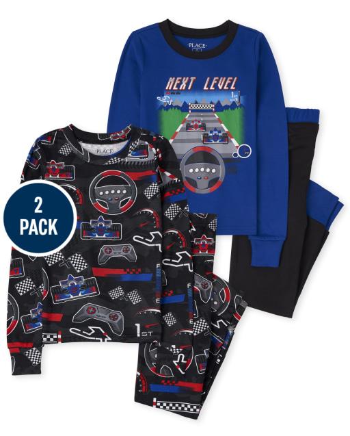 Boys Long Sleeve Race Car Snug Fit Cotton Pajamas 2-Pack