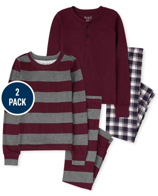 Boys Long Sleeve Plaid Striped Snug Fit Cotton Pajamas 2-Pack
