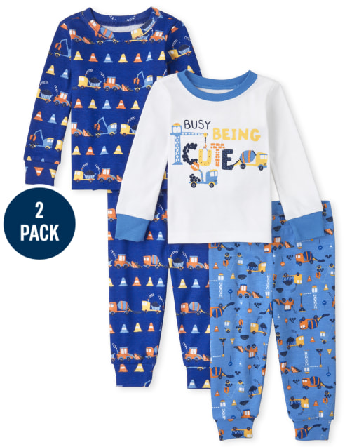 Baby And Toddler Boys Long Sleeve Construction Snug Fit Cotton Pajamas 2-Pack