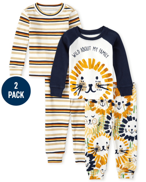 Baby And Toddler Boys Long Sleeve Lion Snug Fit Cotton Pajamas 2-Pack