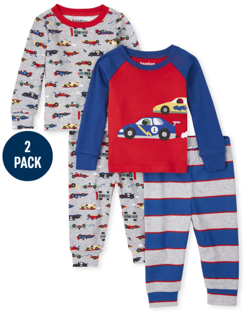 Baby And Toddler Boys Long Sleeve Race Car Snug Fit Cotton Pajamas 2-Pack