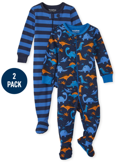 Baby And Toddler Boys Long Sleeve Dino Snug Fit Cotton One Piece Pajamas 2-Pack