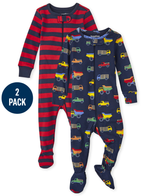 Baby And Toddler Boys Long Sleeve Trucks Snug Fit Cotton One Piece Pajamas 2-Pack