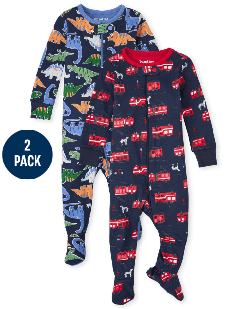 Baby And Toddler Boys Long Sleeve Dino And Fire Truck Snug Fit Cotton One Piece Pajamas 2-Pack