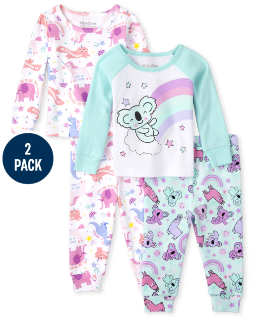 Baby And Toddler Girls Long Sleeve Animals Snug Fit Cotton Pajamas 2-Pack