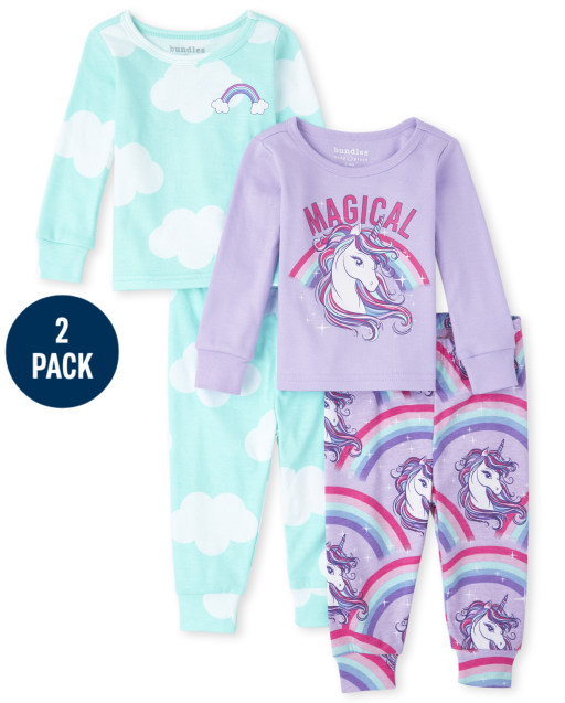 Baby And Toddler Girls Long Sleeve Unicorn Cloud Snug Fit Cotton Pajamas 2-Pack