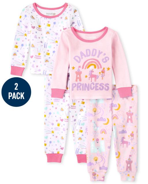 Baby And Toddler Girls Long Sleeve Princess Snug Fit Cotton Pajamas 2-Pack
