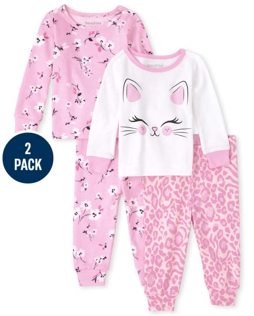 Baby And Toddler Girls Long Sleeve Cat Floral Snug Fit Cotton Pajamas 2-Pack