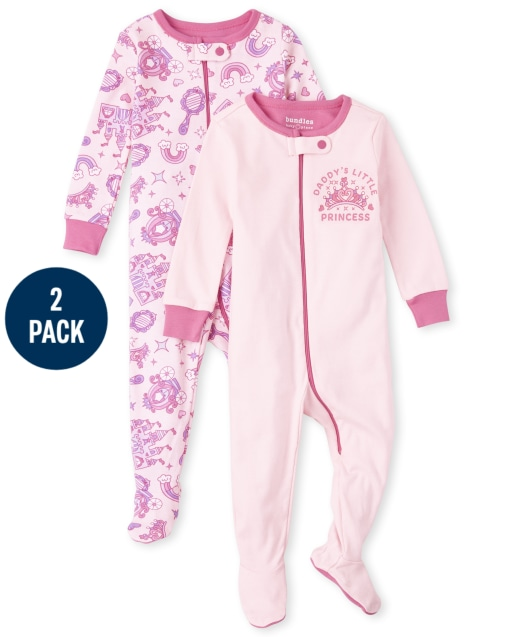 Baby And Toddler Girls Long Sleeve Princess Snug Fit Cotton One Piece Pajamas 2-Pack