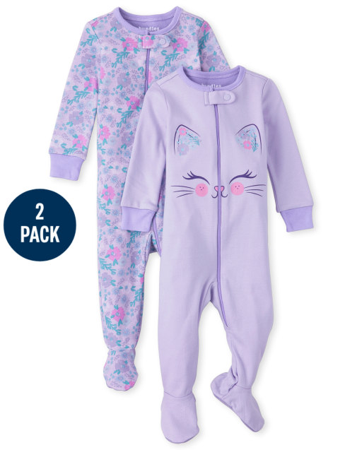 Baby And Toddler Girls Long Sleeve Floral And Cat Snug Fit Cotton One Piece Pajamas 2-Pack
