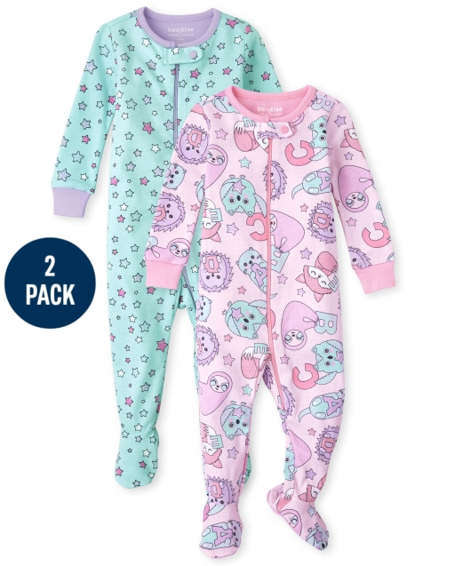 Baby And Toddler Girls Long Sleeve Animal And Stars Snug Fit Cotton One Piece Pajamas 2-Pack