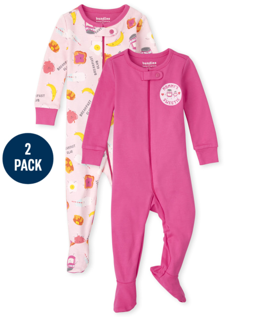 Baby And Toddler Girls Long Sleeve Breakfast Snug Fit Cotton One Piece Pajamas 2-Pack