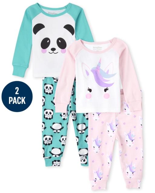 Baby And Toddler Girls Long Sleeve Unicorn And Panda Snug Fit Cotton Pajamas 2-Pack
