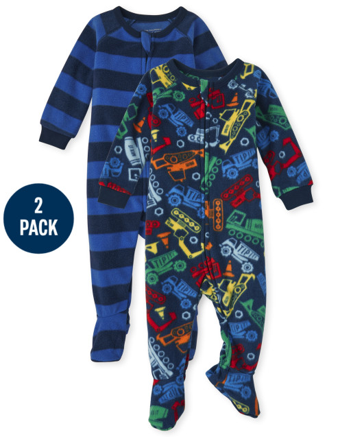 Baby And Toddler Boys Long Sleeve Construction Fleece Footed One Piece Pajamas 2-Pack