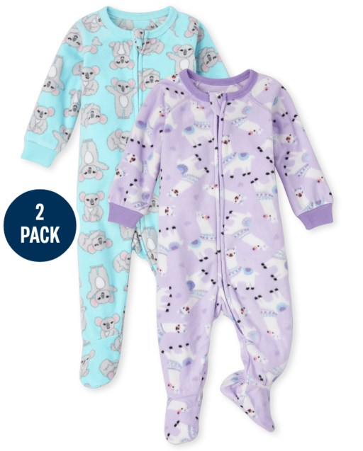 Baby And Toddler Girls Long Sleeve Llama And Koala Fleece Footed One Piece Pajamas 2-Pack
