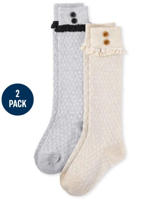 Pack de 2 pares de calcetines de pointelle para botas para niñas