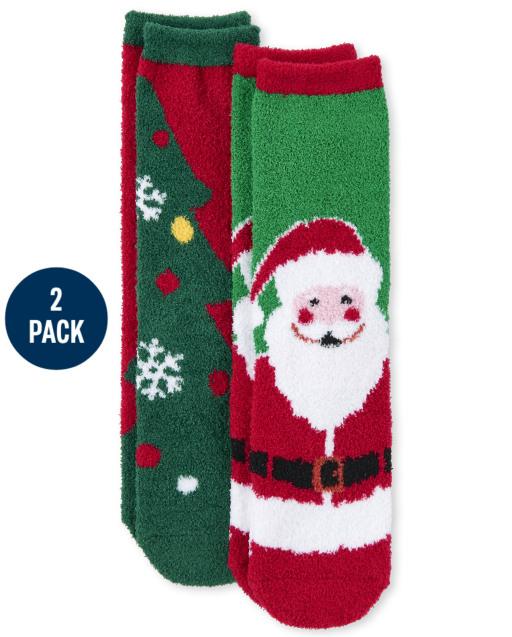Paquete de 2 calcetines unisex para niños de Navidad a juego con la familia Santa Cozy