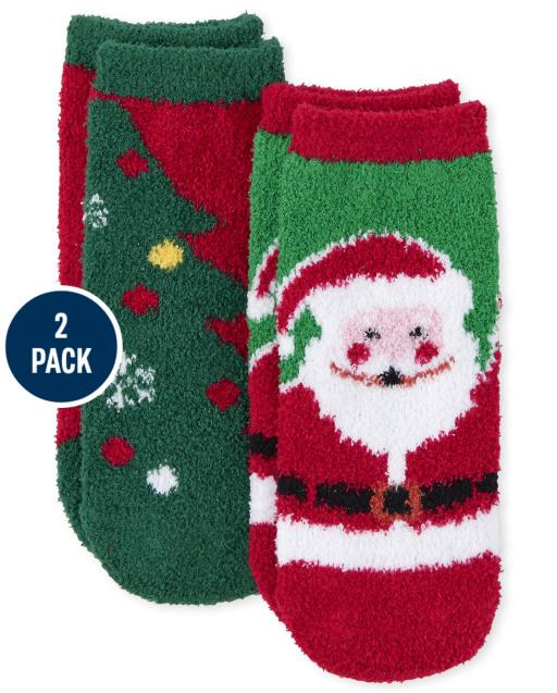 Paquete de 2 calcetines unisex para niños pequeños de Navidad a juego con Papá Noel familiar