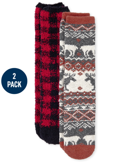 Unisex Adult Christmas Matching Family Buffalo Plaid Cozy Socks 2-Pack