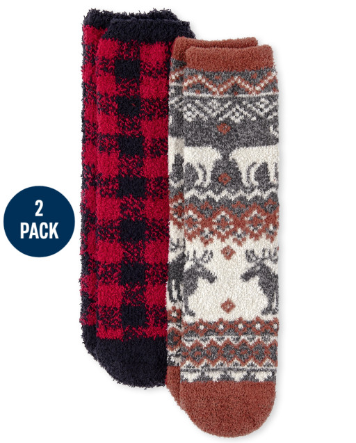 Unisex Kids Christmas Matching Family Fairisle Cozy Socks 2-Pack