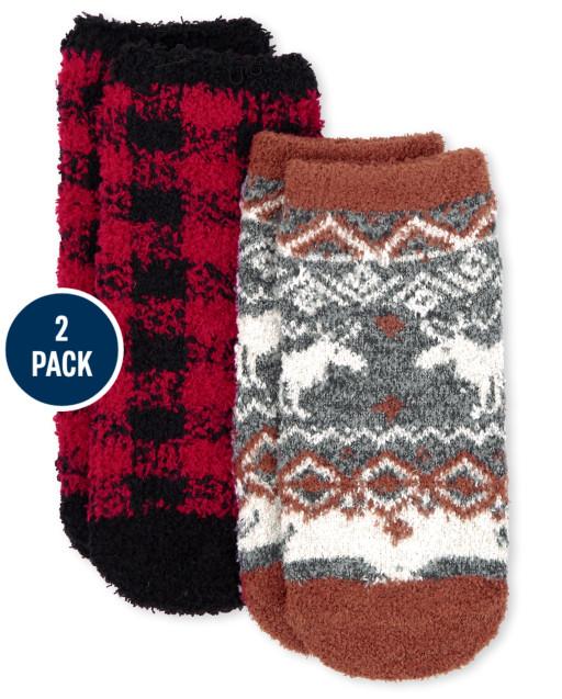 Paquete de 2 calcetines unisex para niños pequeños de Navidad a juego con la familia Buffalo Plaid