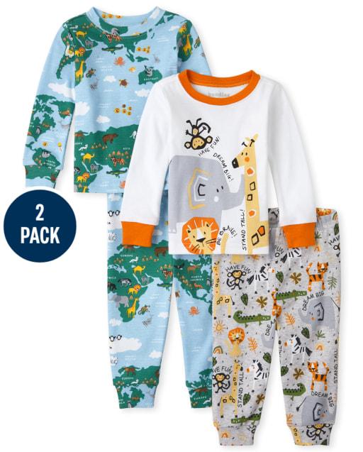 Unisex Baby And Toddler Long Sleeve World Safari Snug Fit Cotton Pajamas 2-Pack