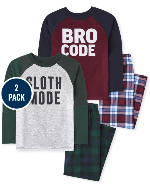 Boys Long Sleeve Sloth Bro Pajamas 2-Pack
