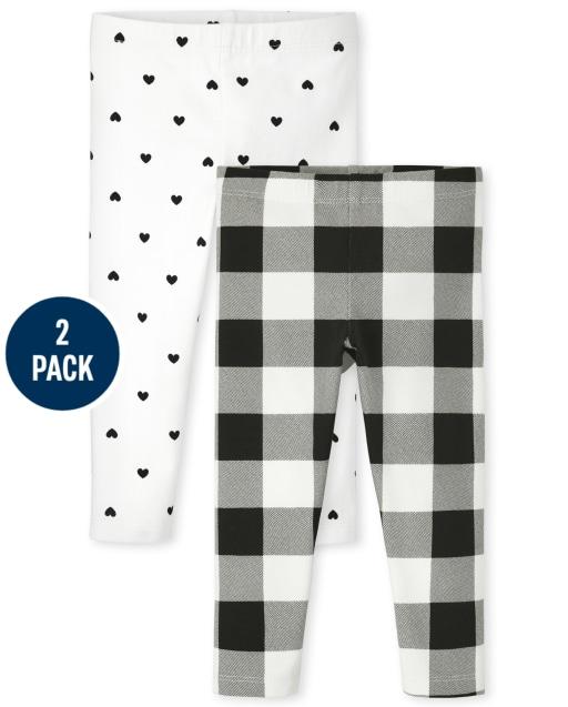 Paquete de 2 leggings de punto con estampado de corazones y cuadros de búfalo para niñas pequeñas