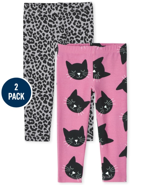 Paquete de 2 leggings de punto con estampado para niñas pequeñas
