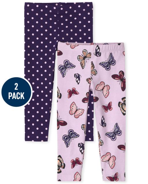 Toddler Girls Print Knit Leggings 2-Pack