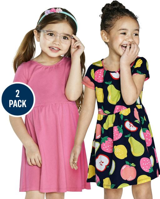 Paquete de 2 vestidos skater de punto liso y estampado de frutas de manga corta para niñas pequeñas