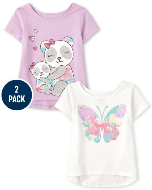 Pack de 2 camisetas de manga corta con estampado de mariposas y pandas para niñas pequeñas
