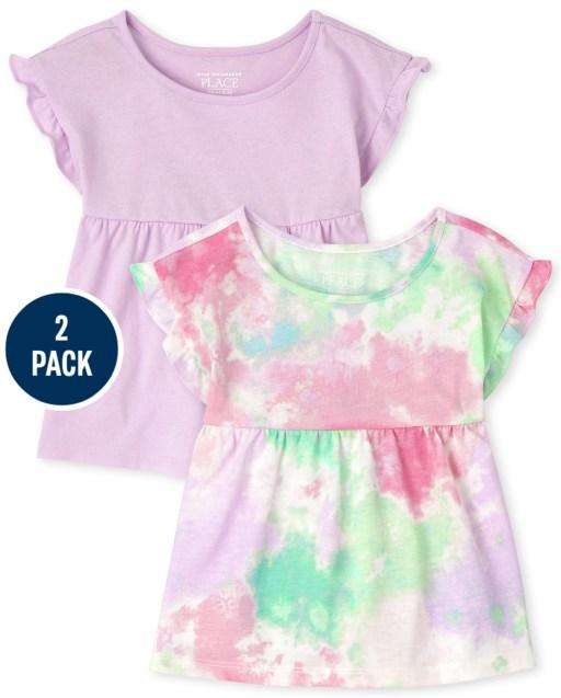 Paquete de 2 blusas de manga corta con volantes y túnica de color liso y teñido anudado para niñas pequeñas