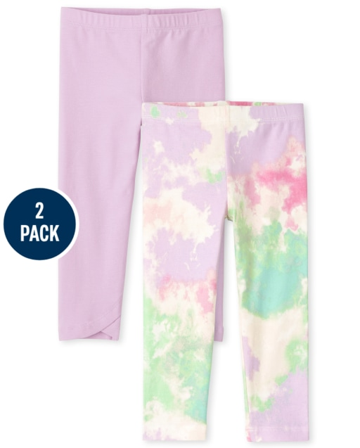 Toddler Girls Tie Dye And Solid Knit Leggings 2-Pack