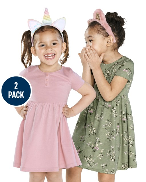 Toddler Girls Short Sleeve Floral Print And Solid Henley Knit Babydoll Dress 2-Pack
