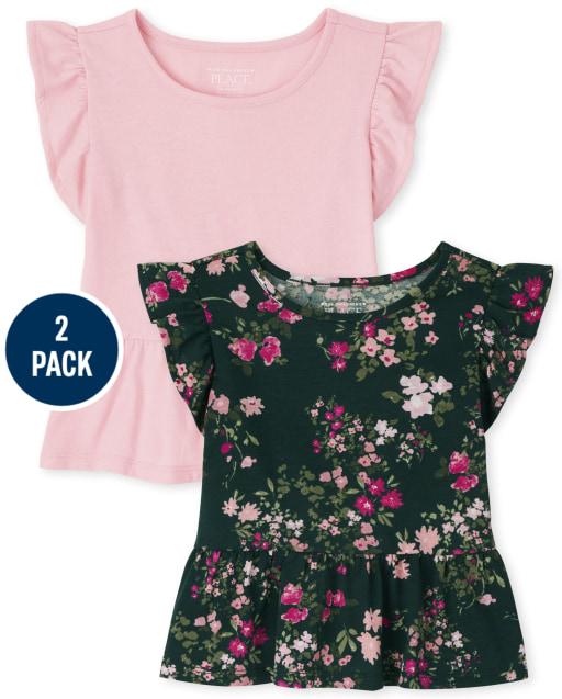 Paquete de 2 top de peplum liso y estampado floral de manga corta con volantes para niñas pequeñas