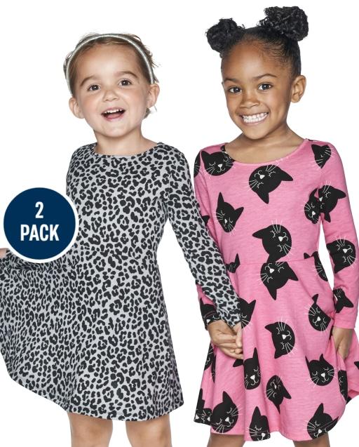 Toddler Girls Long Sleeve Leopard And Cat Print Knit Skater Dress 2-Pack
