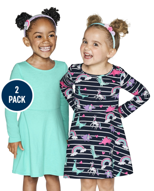 Toddler Girls Long Sleeve Rainbow Dino Print And Solid Cut Out Knit Skater Dress 2-Pack